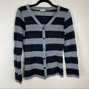 Zenana Ourfitters Grey Striped Button Cardigan